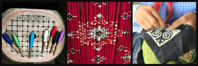 weaving, ikat, applique collage
